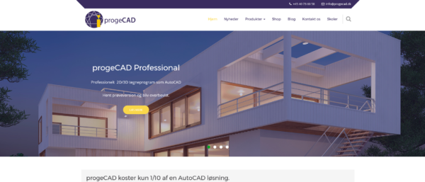 Nyt design for progeCAD hjemmesiden